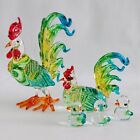 Hand Blown Glass Miniature Rooster Hens Family Collectible Souvenir Gift