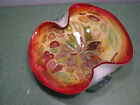 Vintage Murano art glass bowl Tutti Frutti Red Gold Multi