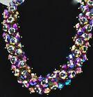 Outstanding Joan Rivers Bold Chunky Carnival Glass Crystal Beaded 21 Necklace