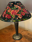 RARE Signed A Hart Leaded Glass Floral Shade W Signed Handel Bronze Base