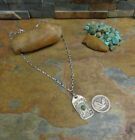 NAVAJO STERLING THUNDERBIRD TURQUOISE FOB PENDANT NECKLACE NATIVE PAWN HARVEY