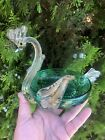 Rare unusual Glass Swan Dish Green And Clear MCM Art glass