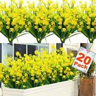 20 Bundles Artificial Flowers for Outdoor Decoration UV Resistant Faux Yellow