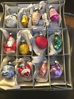 Box of 12 Miniature Glass Christmas Tree Ornaments West Germany Orig Box