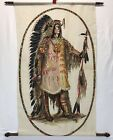 Vintage 3 Hand Painted Painting Fabric Textile Native American Indian Chief
