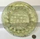 Antique Light Green Glass Gothic Arch  Waffle Dish c 1840