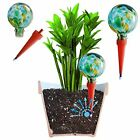 2 Large Decorative Glass Self Watering Globes Plant Watering Spikes Aqua