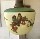 Antique ART DECO PAINTED GLASS CEILING HANGING GLOBE LIGHT FIXTURE birds parrots