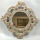 Murano Venetian Glass Etched Mirror Pink Rosettes Gold