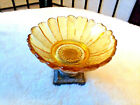 VINTAGE AMBER GLASS FLOWER METAL PEDESTAL SOAP TRINKET DISH MCM