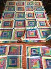 Vintage Quilt 86x68 Rainbow Log Cabin Pattern W Shams