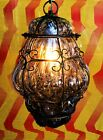 ITALIAN VENETIAN MURANO AMETHYST GLASS CAGED TRAPPED PENDANT LAMP LIGHT FIXTURE