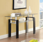 Tempered Glass Sofa Console Hallway Foyer Table With Shelf Black