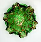 Murano Italy Green Art Glass Ashtray Bowl with Gold Copper sparkle Vintage