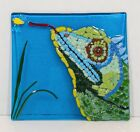 Fused Art Glass Decor Iguana Catching Fly Decorative Square Plate Nancy Wadelton