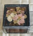 Vintage Floral Pressed Flower Chain Glass Metal Mirrored Trinket Jewelry Box