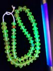 Strand of Old Bohemian Uranium Colored Faceted Vaseline Beads Late 1800s