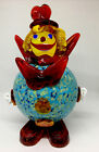 Vintage Italian Murano Art Glass Clown Gorgeous Colors Turquoise Red Yellow