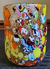 Vintage Signed Rossi Murano Gold Fleck Millefiori Art Glass Pinched Tumbler