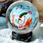 Vintage Chinese Reverse Painted Glass Globe  Stand Asian Painting Riding Dragon