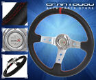 35 Deep Dish Racing Pvc Leather Steering Wheel Black Red+Red Stitch For Nissan
