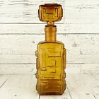 Vintage BRUTALIST Italian GLASS Decanter BOTTLE Made in ITALY Empoli MCM 12inch