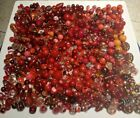 Glass beads red lot used lampwork crystal czech wedding cake