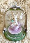 RARE FIND BUNNY BOULEVARD EASTER BUNNY W EGG IN A TEA CUP GLASS DOME 9X6