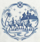 Delft Blue Nativity Christmas EMBROIDERED QUILT BLOCKS Beautiful Set