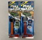 Pez Candy Dispenser Hot Wheels Pull & Go Action Dispensers On Card Blue & Green