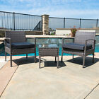 3 PCS Outdoor Rattan Wicker Patio Chat Chairs  Table Furniture Set Lounge