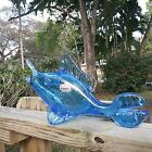 Vintage Rainbow Glass Company Crackle Blue Fish Applied Fins Vase Hand Blown