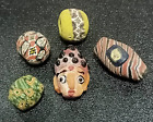Set Of Antique Collection Phoenician Islamic Mosaic Glass Hermit Face Bead