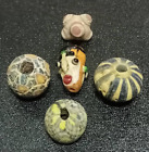Set Of Antique Rare Collection Phoenician Islamic Mosaic Glass Hermit Face Bead