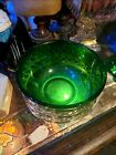 Vintage Green Glass Bowl With Silver Plate Stand