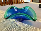 Vintage Murano Sommerso Wave MCM Bowl Cobalt Blue Aqua Green Hand Blown Glass