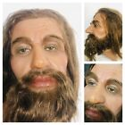 Life Size Wax Mans Head Realistic Prop Display 11 Vtg Glass Eyes Real Hair 1c