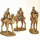 VINTAGE WISE MEN CHRISTMAS NATIVITY STATUES THREE KINGS WITH GIFTS ON CAMELS 14