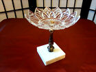 VINTAGE WHITE MARBLE GLASS METAL PEDESTAL SOAP DISH TRINKET HOLLYWOOD REGENCY