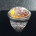 Stunning Vibrant Vintage Golden Amber Topaz Glass Fire Opal Cabochon Ring Size O