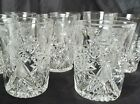 8 ABP Antique Cut Glass Crystal Tumblers BEAUTIFUL CUT all over ABP ANTIQUE