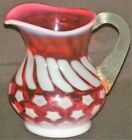 Vintage Fenton Stars  Stripes Cranberry Opalescent Small Pitcher 4 1 4