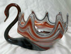 Vintage Sooner Multicolor Large Art Glass Swan Console Bowl Centerpiece Decor