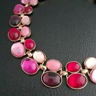 Stunning Vintage Shades of Pink Red Purple Cabochon Cleopatra Collar Necklace