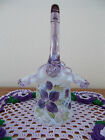 FENTON HP FLOWERS ON FRENCH OPALESCENT DIAMOND OPTIC HAT BASKET MUSEUM COLLECT