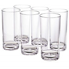 Plastic Tumbler Set Drinking Glass Water Cups Crystal Clear Kitchen 24 Oz 6 Pc