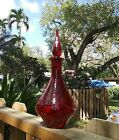 Mid Century BLENKO RUBY RED CRACKLE ART GLASS Decanter  FLAME Stopper