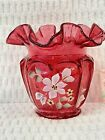 Fenton Country Cranberry Glass Vase Signed By Artist Flowers