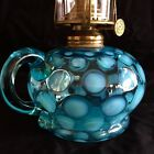ANTIQUE COIN DOT OPALESCENT BLUE TEAL BLUE GLASS OIL LAMP c1870s 1890s