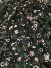 Black Beaded Lace Embroidered Pink Sequin Floral Flower Fabric By The Yard Gown